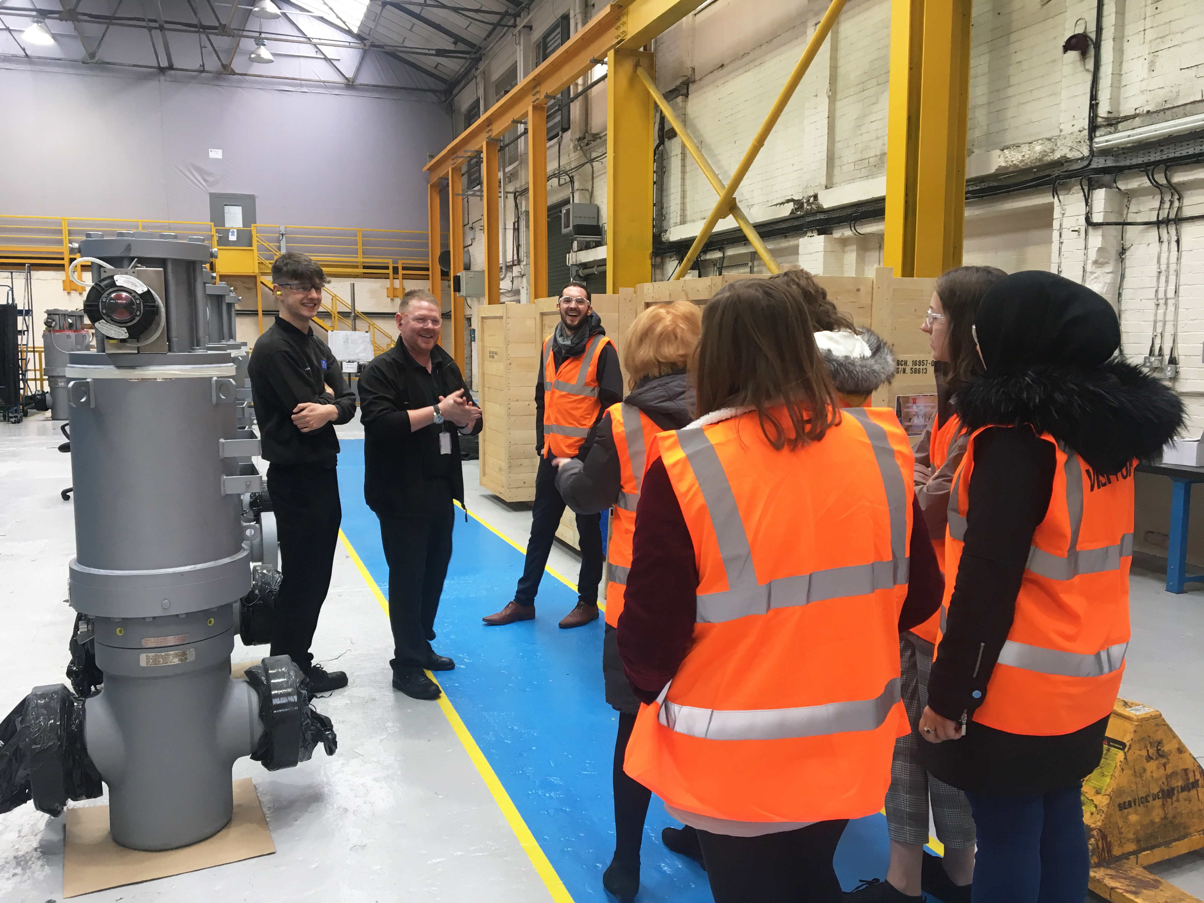 Students at BEL Valves Newcastle for Women in Engineering talk