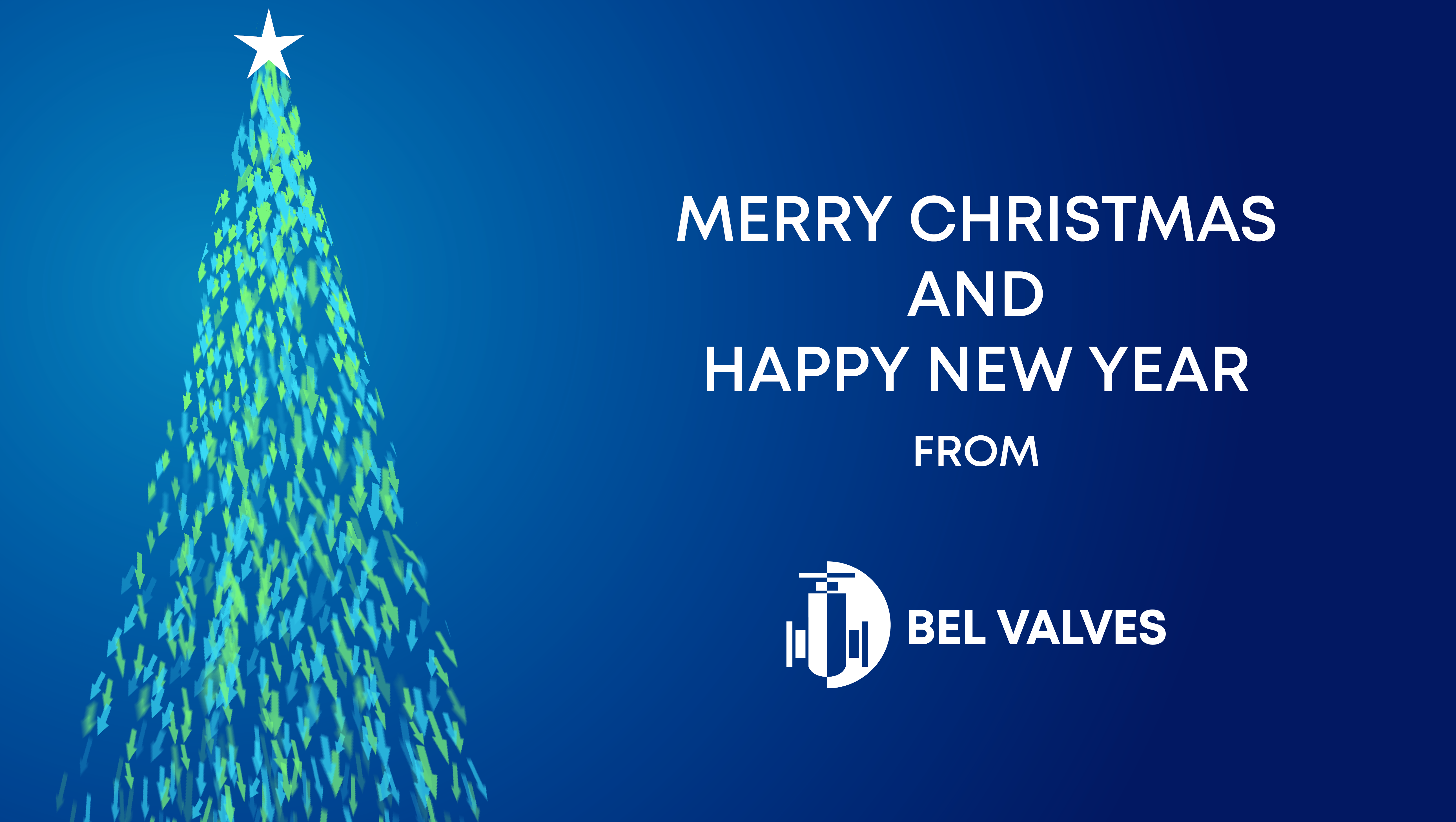 Merry Christmas and Happy New Year from BEL Valves graphic with Christmas tree