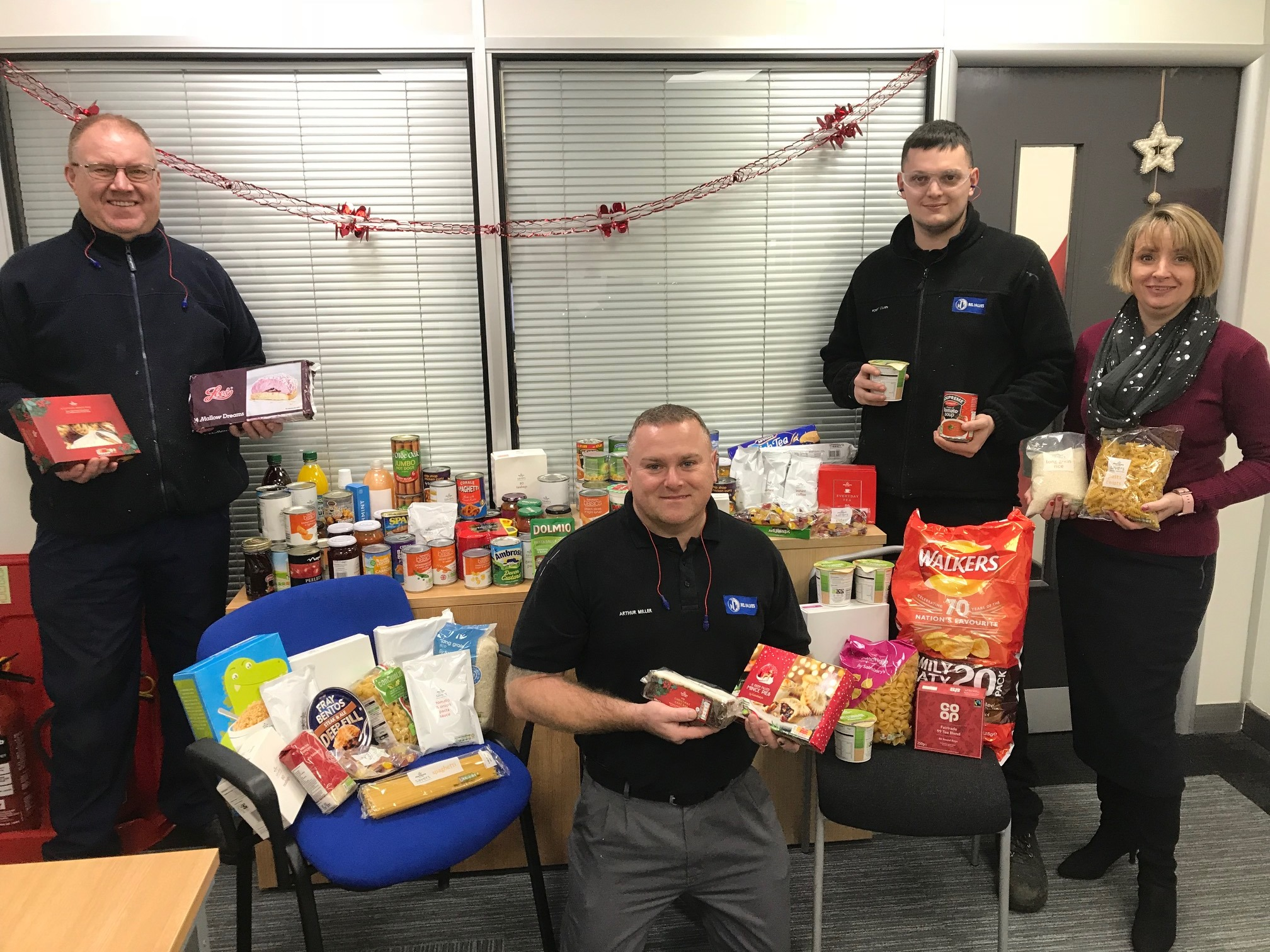 BEL Valves staff with food collected for local Newcastle foodbank